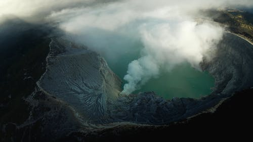 Drone Footage Of A Volcanic Crater