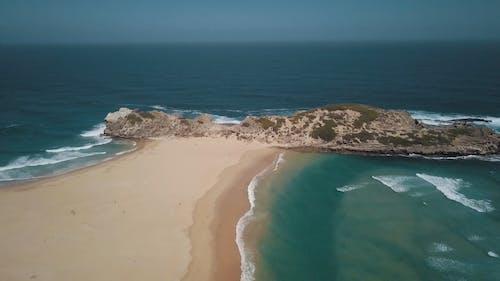 Drone View Of A Unique White Sand Beach