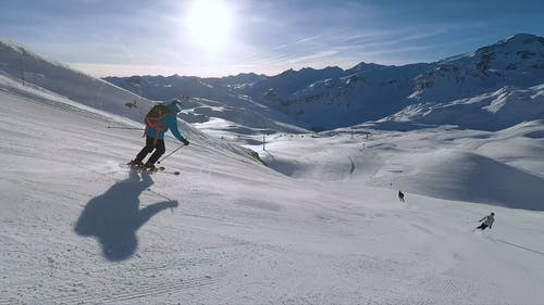 Mountain Skiing On Snow Covered Mountains