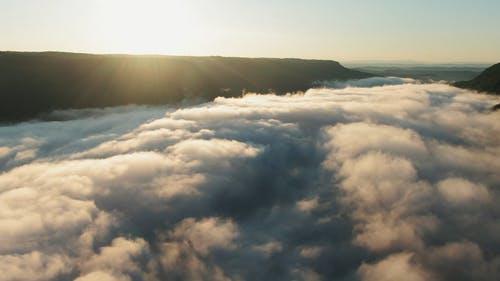 Sea Of Clouds Covering The Mountain Valley