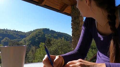 Woman Writer Looking At The Beauty Of Nature