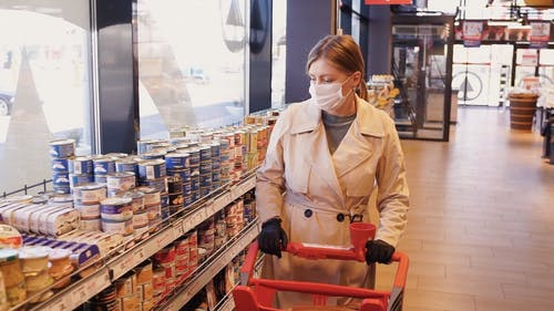 A Woman Wearing a Face Mask Buying Groceries