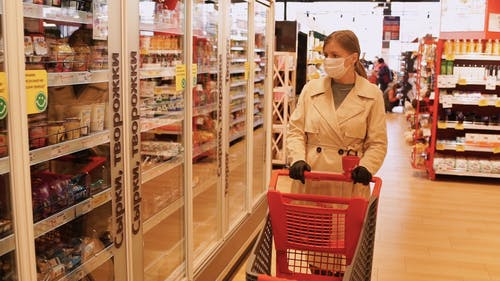 A Woman Wearing Mask And Gloves In Shopping For Safety