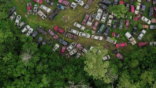 Drone Footage Of Motor Vehicles In A Junkyard