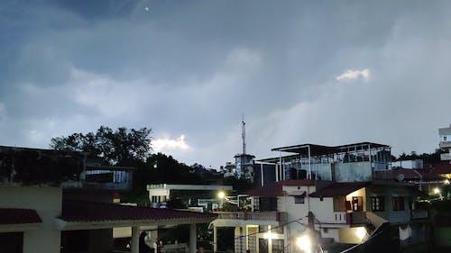 A Footage of a Gloomy Sky with Lightning Strike