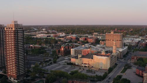 A Drone Video Over Downtown Area