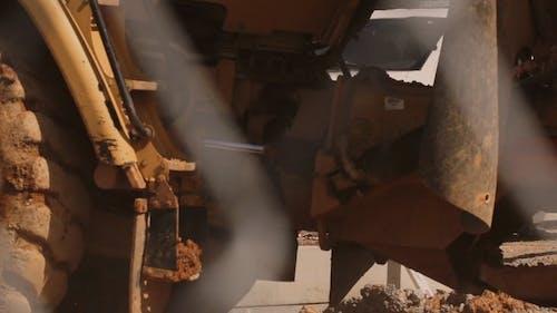 A Close-up Shot of a Bulldozer Wheel