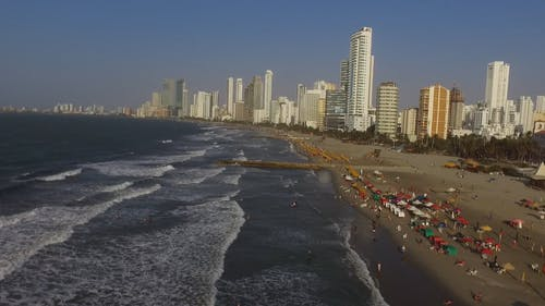 Aerial Shot Of The Beach In Cartagena Colombia