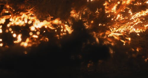 Close-Up Video of Fire Particles