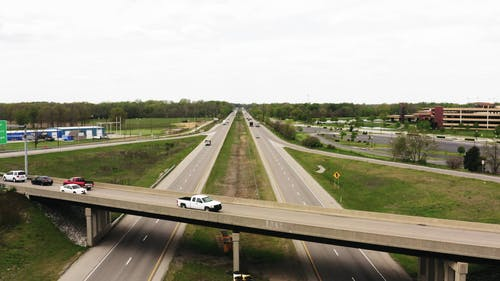 A Drone Shot on the Busy Highway