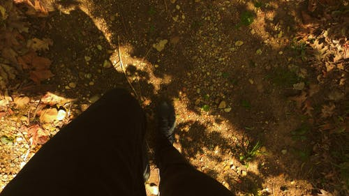 Top Angle Of A Person Feet Walking On The Ground