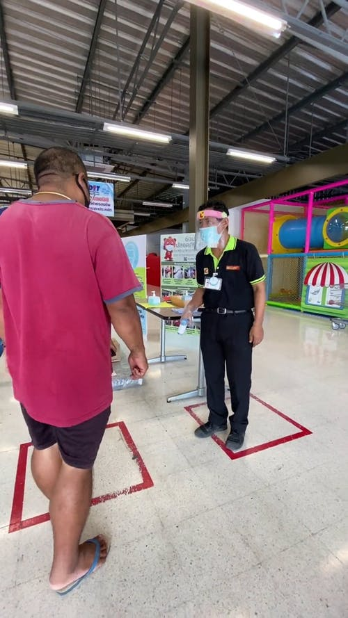 Checking Customers Body Temperature in Entering A Supermarket