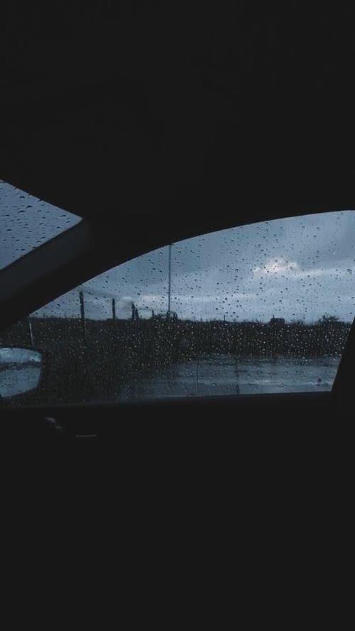 A Video of a Rainy Day from Inside a Car