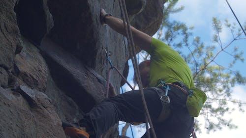 Man Climbing A Rocky Mountain