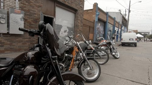 Motorcycle Parked Outdoors