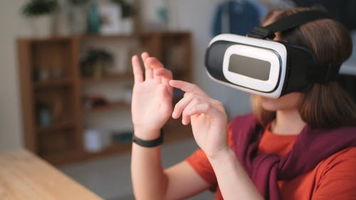 A Girl Playing Wearing The Virtual Reality Game Head Set