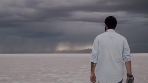 Man Walking on Salt Flats