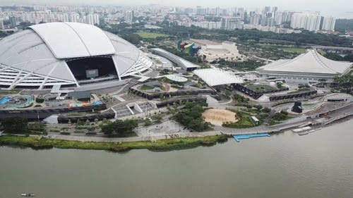 Drone Footage of National Stadium in Singapore