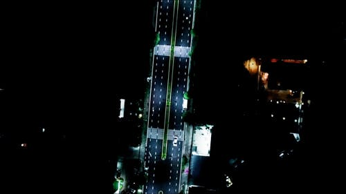 Drone Footage of a Road at Night