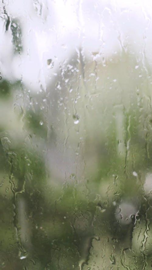 Rain Water Moisture On The Glass Window Surface