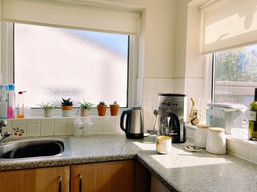 A Hot Coffee on a Kitchen Countertop