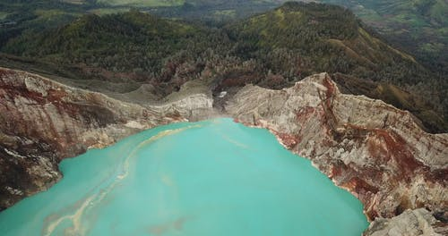 An Aerial Footage of the Kawah Ijen Crater Lake