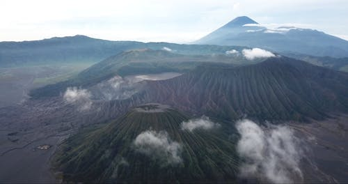 An Aerial Footage of the Volcanoes of East Java, Indonesia