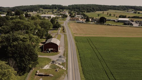 Drone Footage Of An Agricultural Community