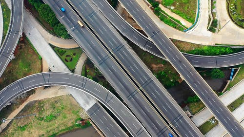 Aerial View Of A Road Interchange