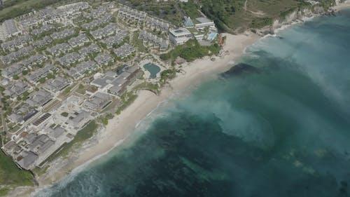 Drone View Of An Island Beach Resort