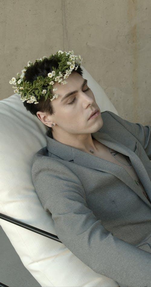 A Man Wearing a Flower Crown