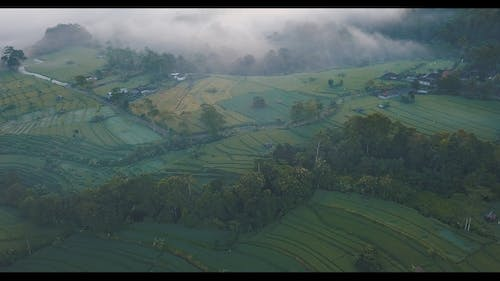 Drone Footage Of Valley During Dawn