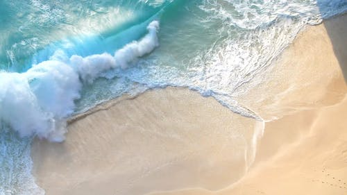 An Aerial Footage of Crashing Waves