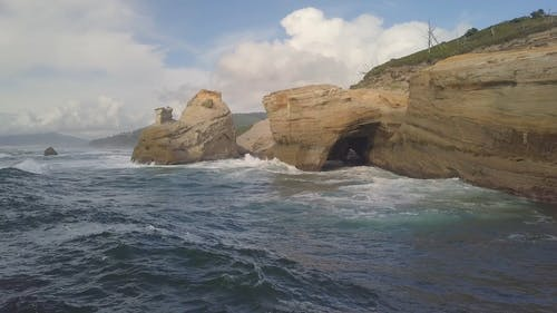 Waves Crashing on the Cliffed Coast
