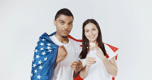 Couple Celebrating the 4th of July