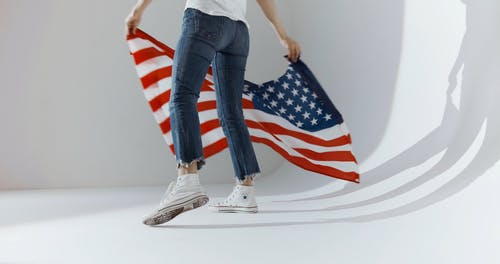 Person With an American Flag