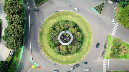 Bird's Eye View Of Roundabout