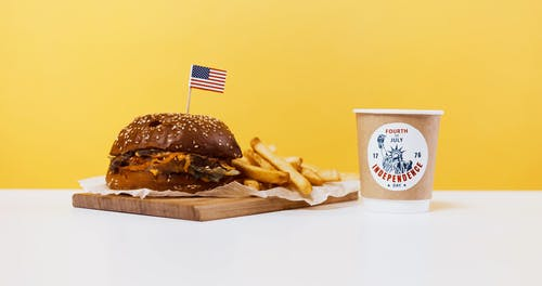 Burger and Fries With a Sparkler