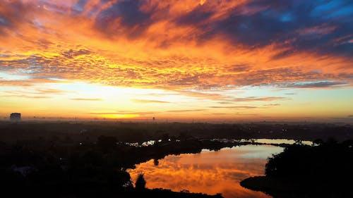 Silhouette Lake During Sunset