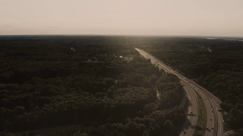 An Aerial Footage of a Landscape and Roads