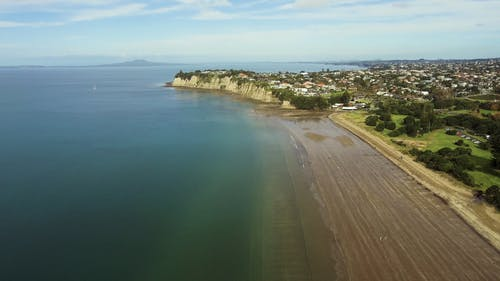 Drone View Of A Small Town By The Sea