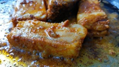 Meat Sizzling in Hot Oil