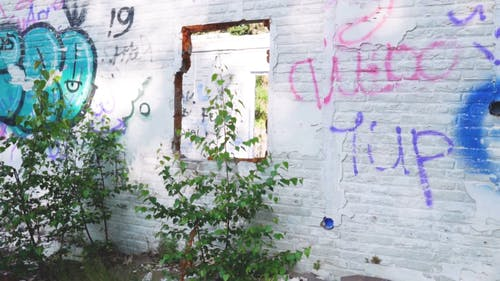 Walls With Graffiti Of A Demolished Building