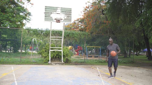 Man Shooting the Basketball to the Ring