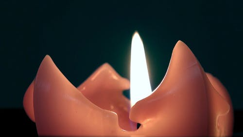 A Lighted Candle In Close-up View
