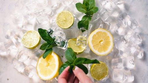 Flat Lay Video Of Sliced Lemons On Top Of Ice