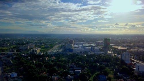 Drone Footage Of A City Skyline