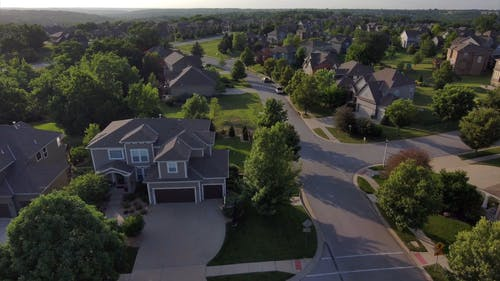 Drone Flying Over A Residential Neighborho
