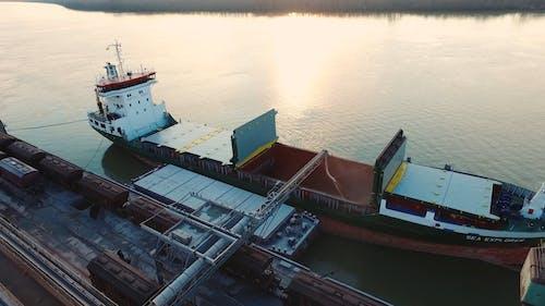 Loading Cargo On A Cargo Ship Hatch
