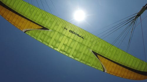 Video Of Person Paragliding Under A Blue Sky